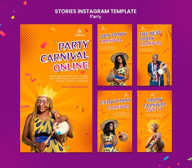 Modello di storie di instagram festa di carnevale