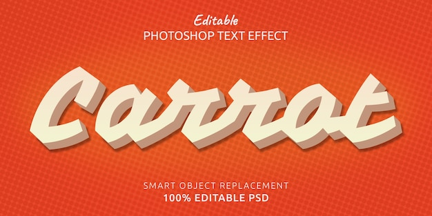 Effetto stile testo modificabile di carota photoshop