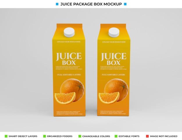 Progettazione di mockup del pacchetto di scatola di succo di cartone