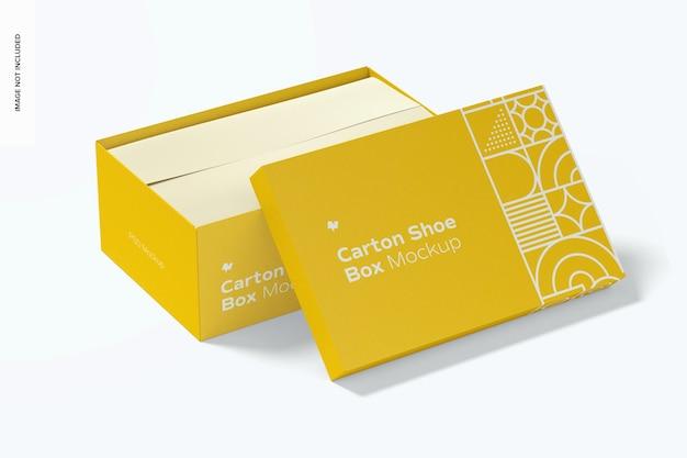Mockup di scatola di scarpe di cartone aperto