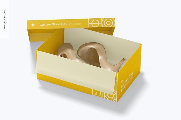 Mockup di scatola di scarpe di cartone, prospettiva