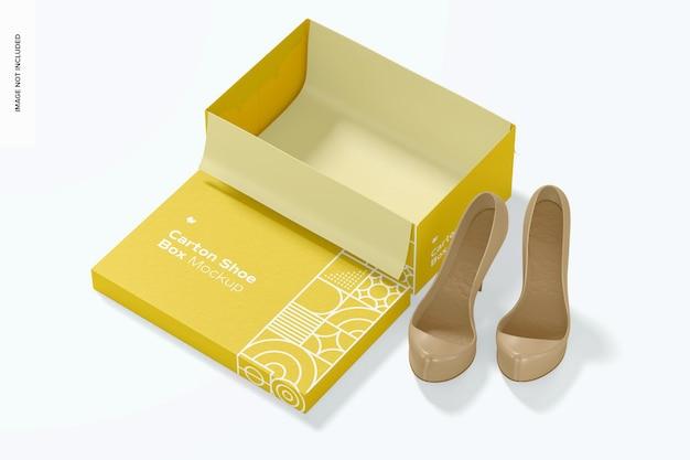 Mockup di scatola di scarpe di cartone, vista dall'alto