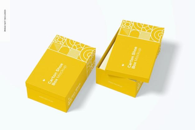 Prospettiva di mockup di scatole di scarpe di cartone