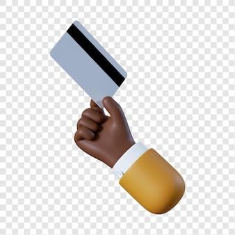 Mano di uomo d'affari afro-americano del fumetto che tiene la carta di credito