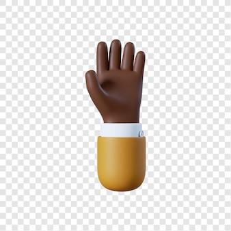 Mano di uomo d'affari afro-americano del fumetto rilassarsi gesto