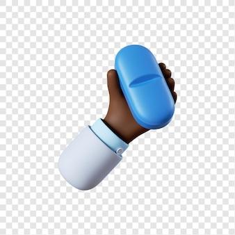 Mano di medico afro-americano del fumetto che tiene pillola blu