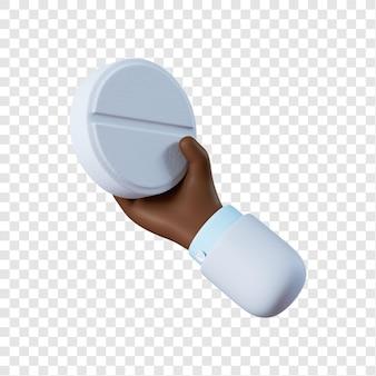 Mano di medico afro-americano del fumetto che tiene pillola bianca
