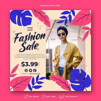 Post di instagram di vendita di moda dei cartoni animati