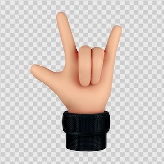 Mano di cartone animato con gesto di roccia, gesto di corna 3d render isolato