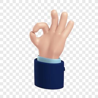 Mano del tono della pelle chiara dei cartoni animati con maniche blu scuro che mostrano un rendering 3d dell'icona ok ben fatto