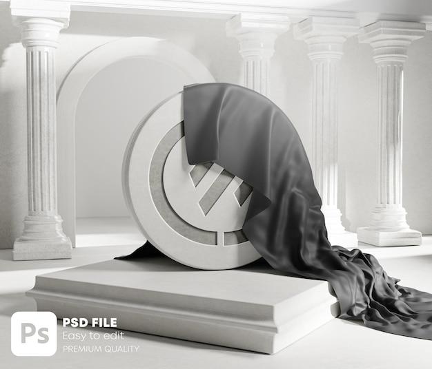 Il logo scolpito svela la copertura in tessuto nero dai pilastri delle colonne classiche in pietra rotonda