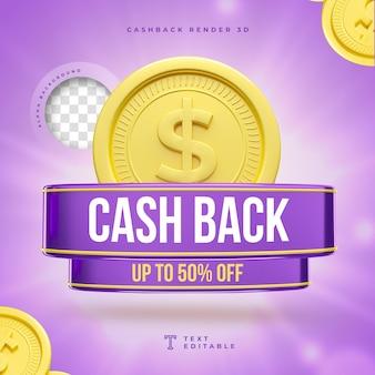 Cashback 3d label marketing con neon e luci