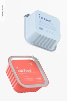 Mockup di cibo per gatti, galleggiante