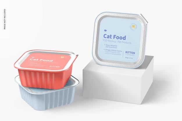 Mockup di cibo per gatti, impilato