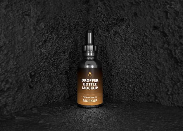 Mockup dell'etichetta della bottiglia cosmetica dell'olio di cbd