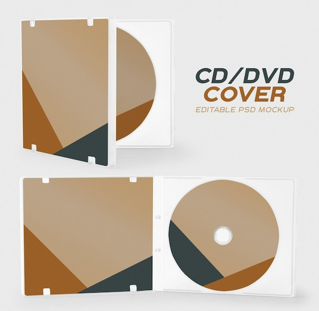 Modello di mockup di copertina di cd e cd box per il tuo design.