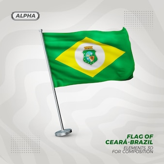 Bandiera strutturata 3d realistica di ceara per la composizione