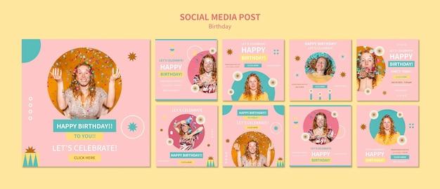 Festeggia il post sui social media di compleanno