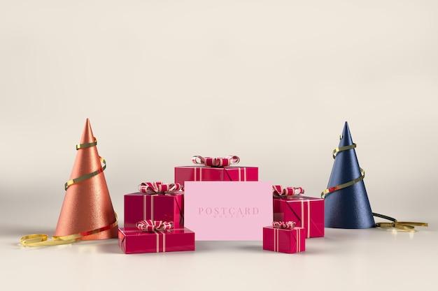 Festa di celebrazione con decorazioni di scatole regalo