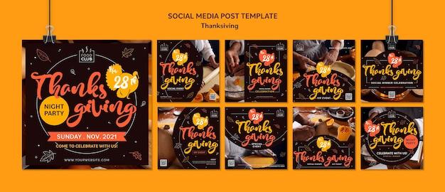 Set di post ig celebrativi del giorno del ringraziamento