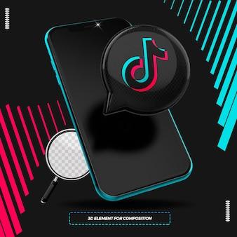 Cellulare con icona 3d tiktok isolata per la composizione