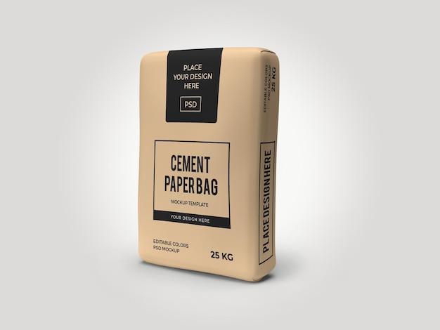 Modello 3d mockup sacchetto di carta sacco di cemento psd isolato