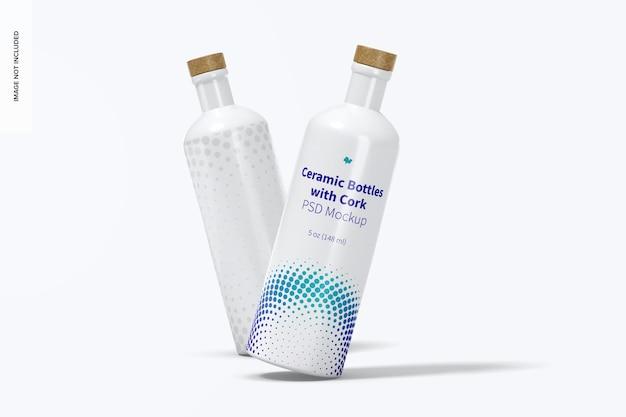 Bottiglie in ceramica con sughero mockup