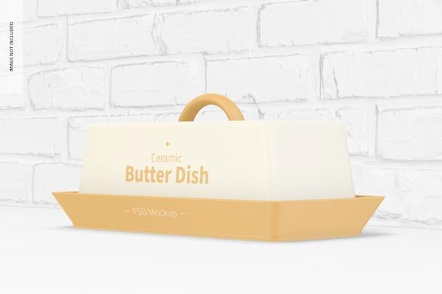 Mockup di piatto di burro in ceramica, prospettiva