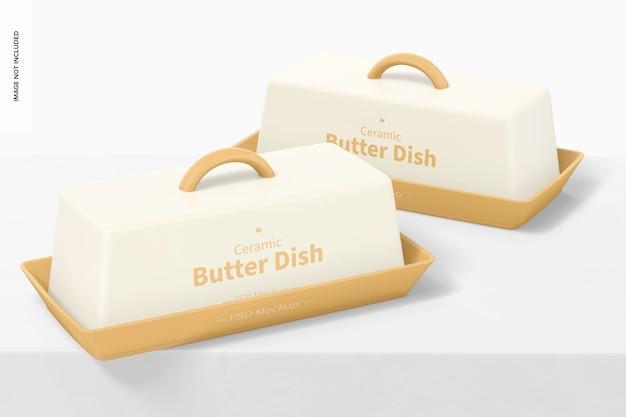 Mockup di piatti di burro in ceramica