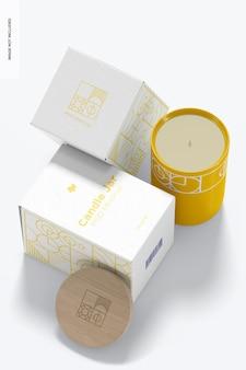 Portacandele in ceramica con scatole mockup