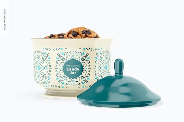 Mockup di barattolo di caramelle in ceramica, aperto