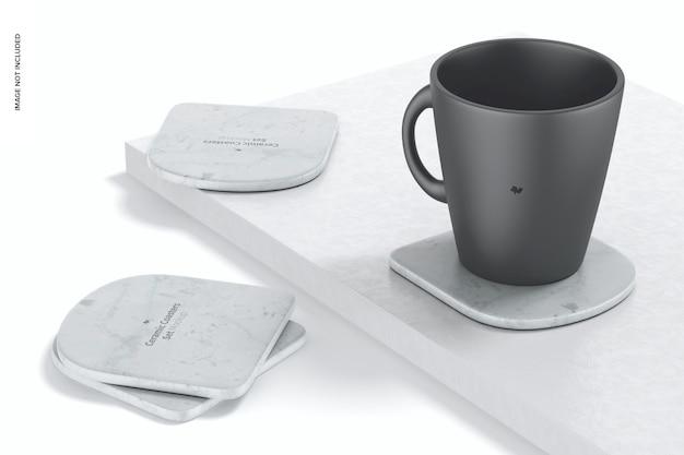 Mockup di sottobicchieri in ceramica, vista a sinistra