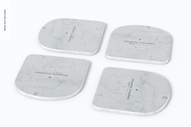 Mockup di sottobicchieri in ceramica, vista dall'alto