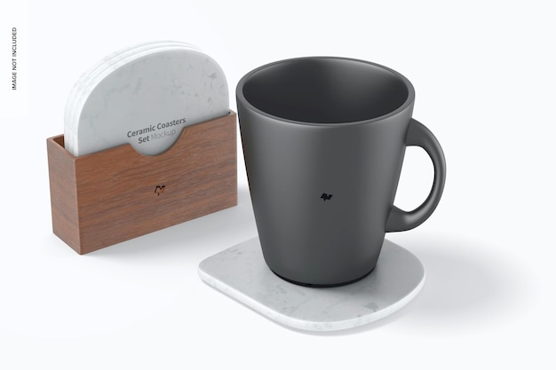 Set di sottobicchieri in ceramica con tazza mockup