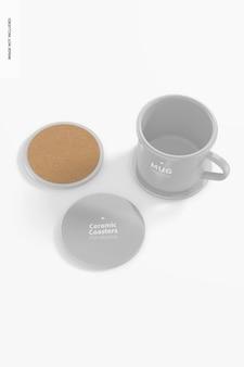 Sottobicchieri in ceramica con tazza mockup
