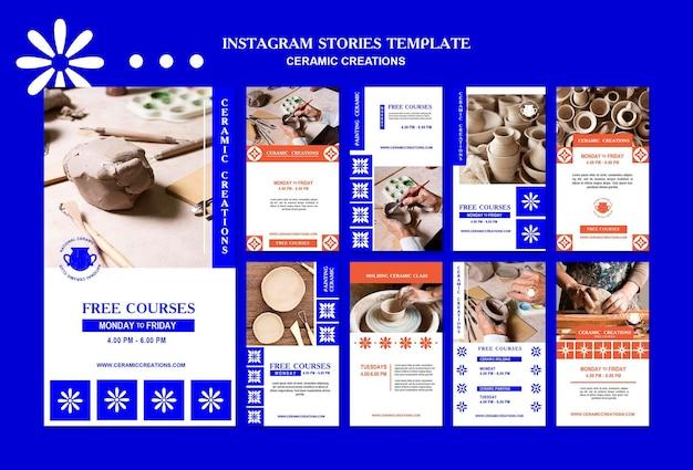 Modello di storie instagram di creazioni in ceramica