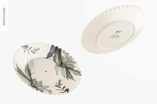Mockup di piatto da dessert in ceramica, galleggiante