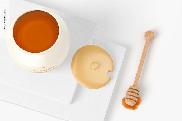 Mockup di vaso di miele in ceramica, aperto