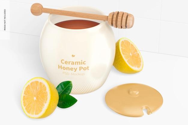 Miele in ceramica con mockup di limoni