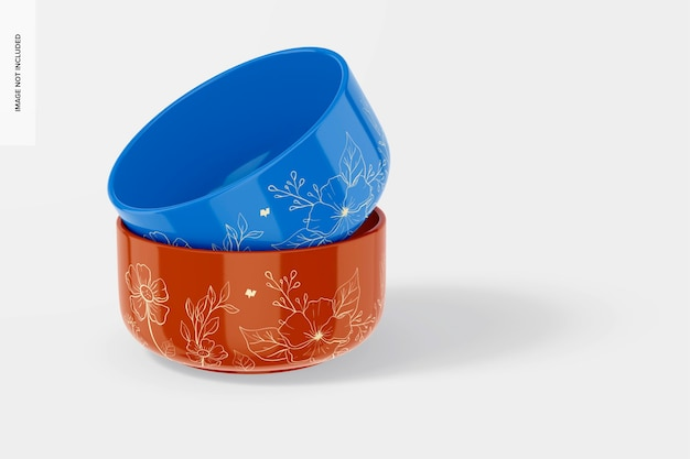 Mockup di piccole ciotole in ceramica, vista frontale