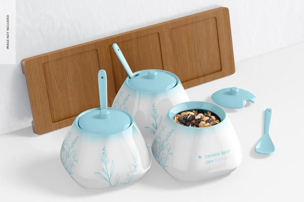 Mockup di vasetti di spezie in ceramica 02