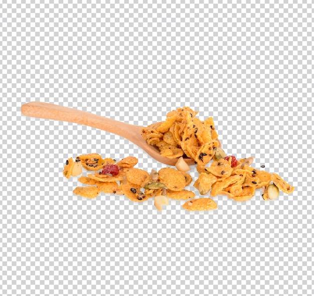 Cereali con fragole e mandorle fagioli isolati psd premium