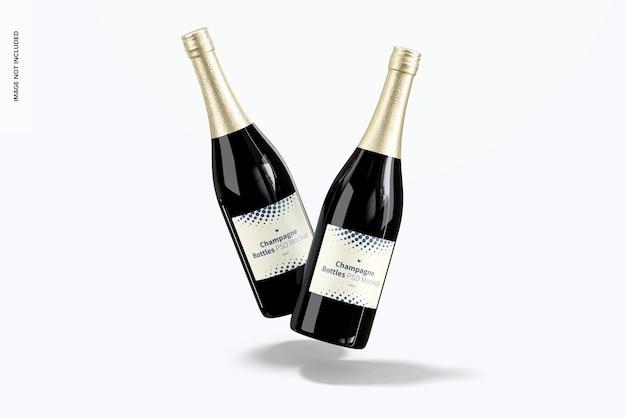 Mockup di bottiglie di champagne, vista frontale