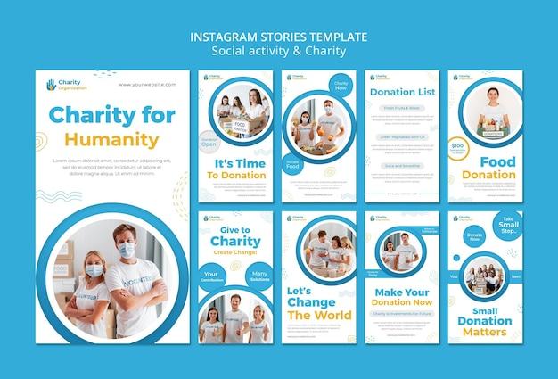 Storie di instagram di attività di beneficenza