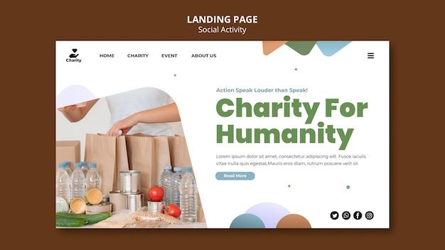 Modello di pagina di destinazione delle attività di beneficenza