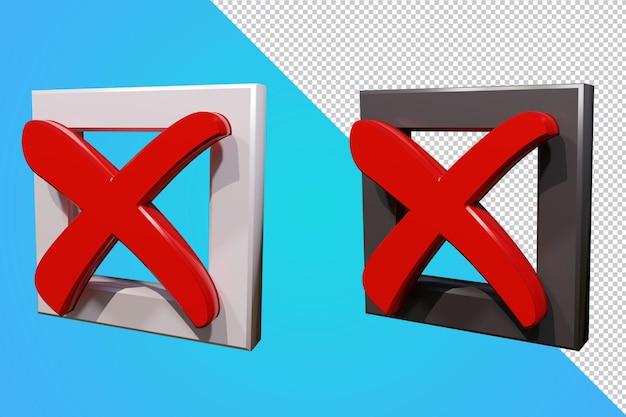 Casella di controllo falsa icona 3d isolata