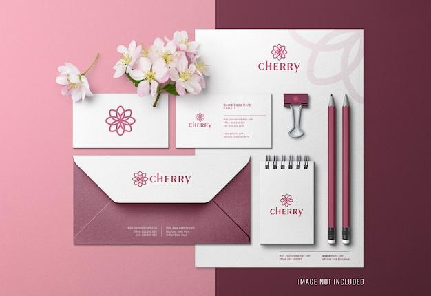 Cherry vibe identità aziendale creatore e prototipi di scene con effetto stampa stampata