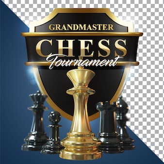 Immagine isolata di rendering 3d di scacchi