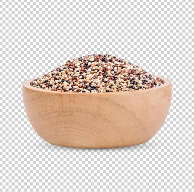 Semi di chia in una tazza di legno isolati psd premium