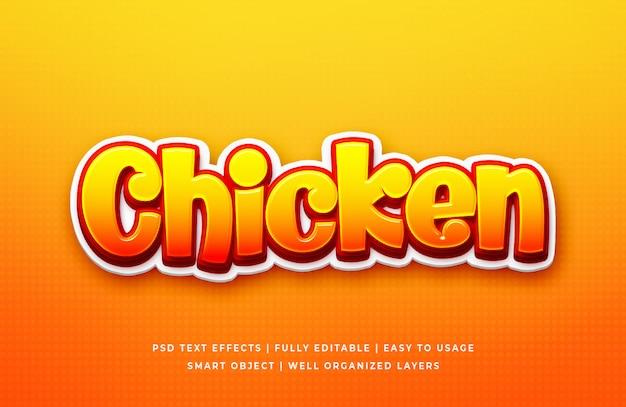 Gioco del pollo effetto di stile del testo 3d